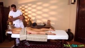 Blonde teen babe massaged the knob