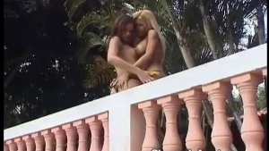 Two girls screw a guy on the balcony theirbuilder gets huge blowjob and pussyfucked