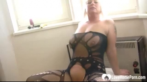 Delicious blonde in stockings gets her tight snatch fucked