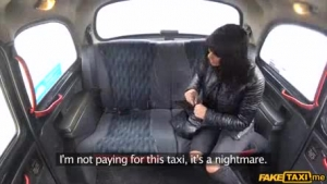 Lusty teen bitch is wearing glasses while getting fucked from the back, by a horny, black taxi driver