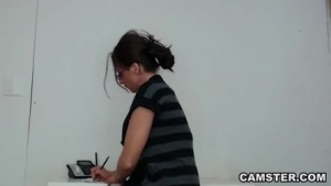 Busty woman is getting fucked hard in her office, during a lunch break and moaning while cumming