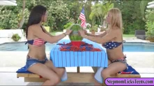 Alexis Fawx invited Jessica Ryan to join her and her boyfriend and make love in the kitchen