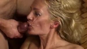 Super horny mature blonde sucking and fucking